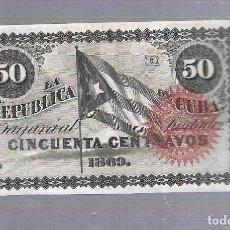 Billetes extranjeros: BILLETE. LA REPUBLICA DE CUBA. 50 CENTAVOS. 1869. SIN NUMERACION. VER. Lote 115175403