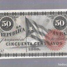 Billetes extranjeros: BILLETE. LA REPUBLICA DE CUBA. 50 CENTAVOS. 1869. SIN NUMERACION. VER. Lote 115175455