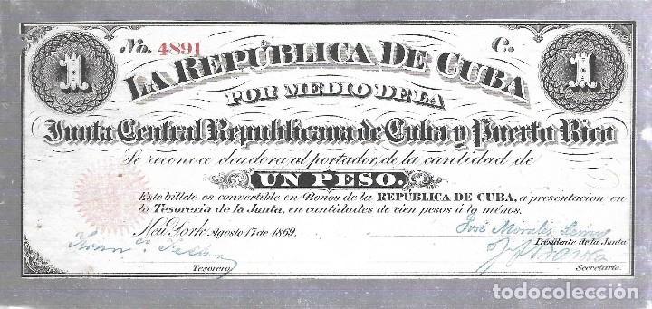 BILLETE. REPUBLICA DE CUBA. UN PESO. 1869. VER (Numismática - Notafilia - Billetes Extranjeros)