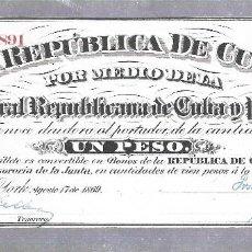Billetes extranjeros: BILLETE. REPUBLICA DE CUBA. UN PESO. 1869. VER. Lote 115177811