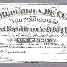 Billetes extranjeros: BILLETE. REPUBLICA DE CUBA. UN PESO. 1869. VER. Lote 115177839