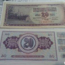 Billetes extranjeros: YUGOSLAVIA 20 DINARA 1981 1978 SC KM88. Lote 115384042