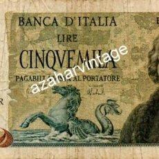 Billetes extranjeros: ITALIA. 5000 LIRE COLON. VELEROS. IMAGEN DE AMBAS CARAS.. Lote 115909131