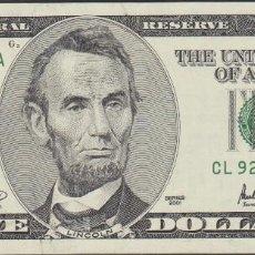 Billetes extranjeros: BILLETES - UNITED STATES-ESTADOS UNIDOS - 5 DOLLARS - 2001 SERIE CL 92486890 A.-L12 - PICK-510 (SC-). Lote 176306860