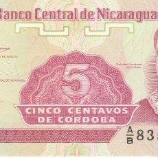 Billetes extranjeros: NICARAGUA- 5 CENTAVOS DE CORDOBA-SC. Lote 116294587