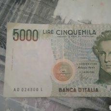Billetes extranjeros: BILLETE 5000 LIRAS ITALIANAS. Lote 255939945