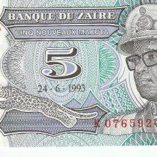 Billetes extranjeros: ZAIRE- 5 NUEVO MAKUTA- 1993-SC. Lote 116383943