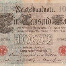 Billetes extranjeros: ALEMANIA- 1000 MARCOS-1910-SC-SELLO ROJO. Lote 116642087