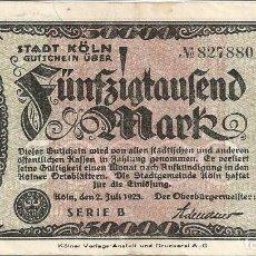 Billetes extranjeros: ALEMANIA - GERMANY 50.000 MARK 1923, KOLN. Lote 117076855