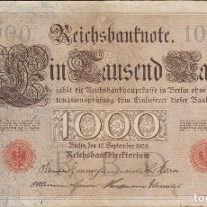 Billetes extranjeros: BILLETES - GERMANY-ALEMANIA - 1000 MARK 1909 - SERIE NR-A - PICK-39 (MBC). Lote 117170551