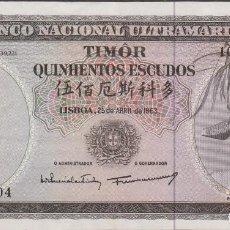 Billetes extranjeros: BILLETES - TIMOR - 500 ESCUDOS 1963 - SIG-9 - PICK-29 (MBC+). Lote 117171367