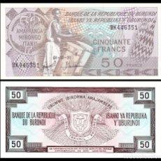 Billetes extranjeros: BURUNDI 50 FRANCS 1991. PICK 28C. SC . Lote 117668375