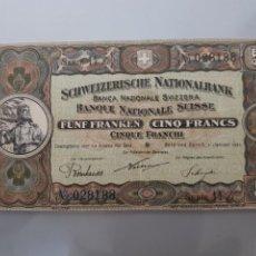 Billetes extranjeros: BILLETE 5 FRANCOS 1921 SUIZA MUY RARO. Lote 117928070