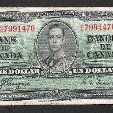 Billetes extranjeros: CANADA 1 DOLAR 1937 MBC-. Lote 118240971