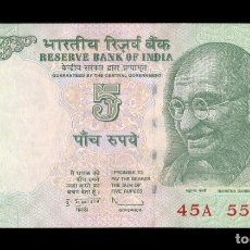 Billetes extranjeros: INDIA 5 RUPEES GANDHI 2010 PICK 94A SIN LETRA SC UNC. Lote 118590767