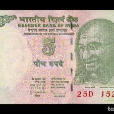 Billetes extranjeros: INDIA 5 RUPEES GANDHI 2009 PICK 94A LETRA L SC UNC. Lote 118590319