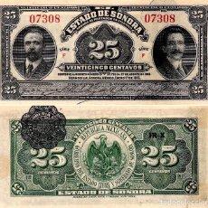 Billetes extranjeros: MEXICO ESTADO DE SONORA 25 CENTAVOS PESO 1915 PICK S1069 SC / UNC. Lote 118590363