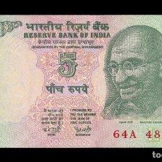 Notas Internacionais: INDIA 5 RUPEES GANDHI 2002-2008 PICK 88AE LETRA L SC UNC. Lote 251543890