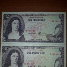 Billetes extranjeros: PAREJA CORRELATIVA DOS PESOS ORO COLOMBIA. SC. 1977. Lote 118700215