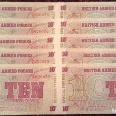 Billetes extranjeros: BILLETE DIEZ PENIQUES. SERIE 6TH. FUERZAS ARMADAS BRITÁNICAS- SIN CIRCULAR. Lote 118996759
