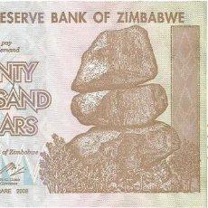Billetes extranjeros: ZIMBABWE 20.000 DOLLARS 2008 PICK 73.A SIN CIRCULAR. Lote 119384075