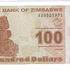 Billetes extranjeros: ZIMBABUE - ZIMBABWE 100 DOLLARS 2009 PICK 97 SIN CIRCULAR. Lote 143329264