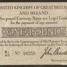 Billetes extranjeros: GRAN BRETAÑA (REINO UNIDO). 1 POUND (23.10.1914). PICK 349. I G.M.. Lote 120002568