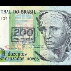 Billetes extranjeros: BRASIL 200 CRUZEIROS 1990. PICK 225B. SC. UNC. Lote 188626008