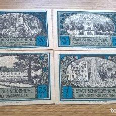 Billetes extranjeros: ALEMANIA. 4 NOTGELD. SCHNEIDEMÜHL. Lote 120233827