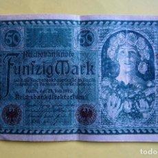 Billetes extranjeros: BILLETE 50 MARCOS ALEMANES. ALEMANIA. 1920. REICHSBANKNOTE. FÜNFZIG MARK. GERMANY. BERLÍN. VER FOTO . Lote 120275375