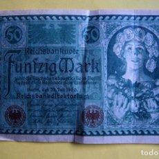 Billetes extranjeros: BILLETE 50 MARCOS ALEMANES. ALEMANIA. 1920. REICHSBANKNOTE. FÜNFZIG MARK. GERMANY. BERLÍN. VER FOTO . Lote 120275451