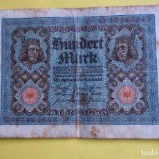 Billetes extranjeros: BILLETE 100 MARCOS ALEMANES. ALEMANIA. 1920. REICHSBANKNOTE. HUNDERT MARK. GERMANY. BERLÍN. VER FOTO. Lote 120276091