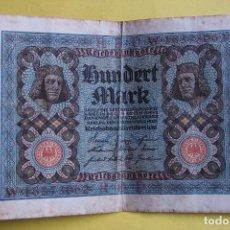 Billetes extranjeros: BILLETE 100 MARCOS ALEMANES. ALEMANIA. 1920. REICHSBANKNOTE. HUNDERT MARK. GERMANY. BERLÍN. VER FOTO. Lote 181869138