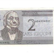 Billetes extranjeros: BILLETE DE 2 KROONI (CORONAS) DE ESTONIA DE 1992. PLANCHA. WORLD PAPER MONEY-70A. (BE195). Lote 120328347