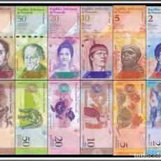 Billetes extranjeros: LOTE CONJUNTO SERIE 6 BILLETES VENEZUELA ANIMALES DELFÍN PÁJARO TORTUGA BÚHO UNC. Lote 153445186