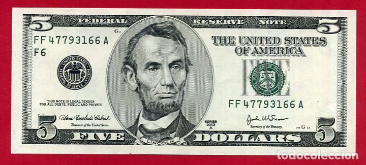 BILLETE 5 DOLARES AMERICANOS , USA , 2003 , PLANCHA , ORIGINAL , T166 (Numismática - Notafilia - Billetes Extranjeros)