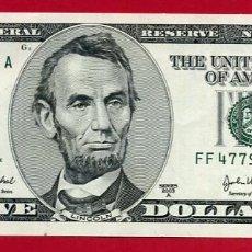 Billetes extranjeros: BILLETE 5 DOLARES AMERICANOS , USA , 2003 , PLANCHA , ORIGINAL , T166. Lote 120933339