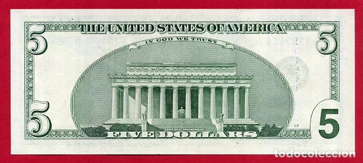 Billetes extranjeros: BILLETE 5 DOLARES AMERICANOS , USA , 2003 , PLANCHA , ORIGINAL , T166 - Foto 2 - 120933339
