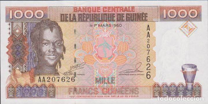 BILLETES - REPUBLIQUE GUINEE - 1000 FRANCS GUINEENS 1998 - SERIE AA 207628 - PICK-37 (SC) (Numismática - Notafilia - Billetes Extranjeros)