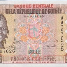 Billetes extranjeros: BILLETES - REPUBLIQUE GUINEE - 1000 FRANCS GUINEENS 1998 - SERIE AA 207628 - PICK-37 (SC). Lote 179382708