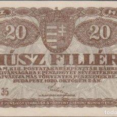 Billetes extranjeros: BILLETES - HUNGRIA - 20 FILLER 1920 - SERIE Nº 13 - PICK-43 (SC). Lote 176276650