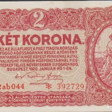 Billetes extranjeros: BILLETES - HUNGRIA - 2 KORONA 1920 - SERIE 2AB 135 - * 392732 - PICK-58 (SC). Lote 192141666