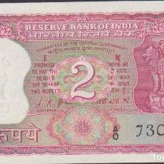 Billetes extranjeros: BILLETES - INDIA - 2 RUPIAS (1969-70) SERIE A/O-730754 - PICK-67A (SC). Lote 192141311