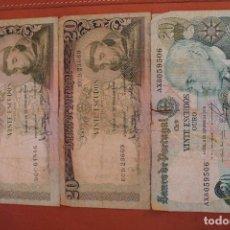 Billetes extranjeros: PORTUGAL. LOTE 3 BILLETES 20 ESCUDOS. Lote 121470467