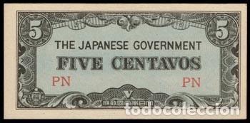 FILIPINAS 5 CENTAVOS PICK 103A (1942) OCUPACIÓN JAPONESA SC- (Numismática - Notafilia - Billetes Extranjeros)