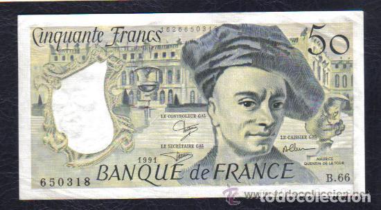 FRANCIA - 50 FRANCOS 1991 QUENTIN DE LA TOUR P.152 EBC++ XF++ (Numismática - Notafilia - Billetes Internacionales)