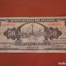 Billetes extranjeros: ECUADOR. 50 SUCRES. Lote 122220199