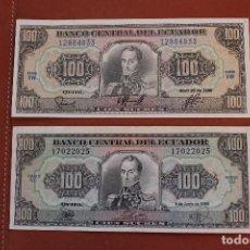 Billetes extranjeros: ECUADOR. LOTE 2 BILLETES 100 SUCRES. Lote 122220443