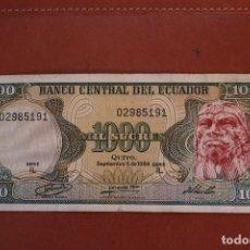 Billetes extranjeros: ECUADOR. 1000 SUCRES. Lote 122221059
