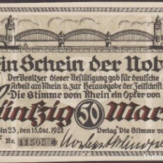 Billetes extranjeros: BILLETES - GERMANY-ALEMANIA (COLONIA) 50 MARK 1922 (EBC). Lote 123115879